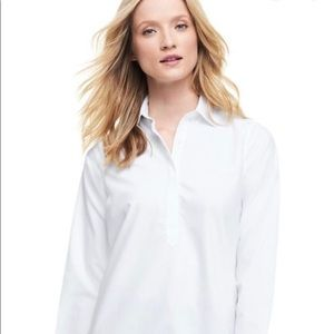 Women's Lands' End White Popover 3 button top
